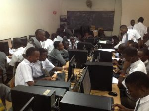 Students working on their media project in the computer lab